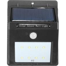 GloboStar 07002 Αυτόνομο Ηλιακό Φωτοβολταϊκό Φωτιστικό Μαύρο LED 2.0Watt Ψυχρό Λευκό με Ανιχνευτή Κίνησης